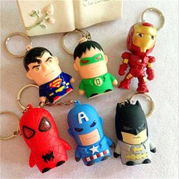 Wholesale Led Torch Toys - New Superhero Movie LED Light Keychain Key Chain Ring The Avengers Iron man captain America Flashlight Torch Sound Toy Kids Christmas Gift