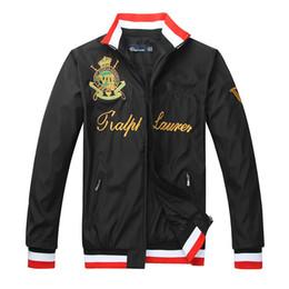 Wholesale horse coat color - Men's 2017 Autumn Winter Big Horse embroidered collar zipper windbreaker jacket Men's fashion polo coat casual jaqueta masculina