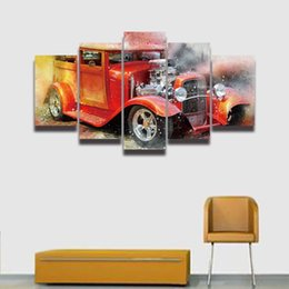 Wholesale Hd Car Pictures - 5 Panel Canvas Painting Modern Artistic Vintage Car Poster Modular Picture Large HD Prints for Home Decor Wall Art Living Room