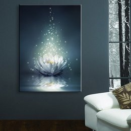 Wholesale Christmas Art Pictures - Flower LED Wallpaper Chinese Painting White Lotus On The Water LED Canvas Print Wall Art Stickers Led Christmas Canvas Wall Arts
