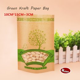 Wholesale Reusable Packaging Bags - 10*15+3cm Green kraft paper bag   Self sealing  Reusable  Food packaging store  Preserved food packaging. Spot 100  package