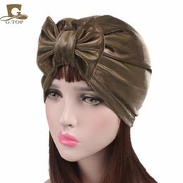 Wholesale Summer Bonnets - 2017 new fashion summer women metallic Bow Turban Hat Bonnet Chemo cap Hijab bowknot Indian cap