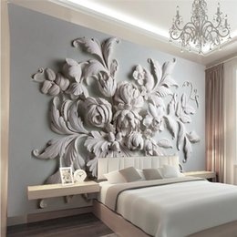 Wholesale Painted Leaf - 3D photo wallpaper stereoscopic relief European backdrop entrance porch bird leaf 3D large wall mural wallpaper Modern painting