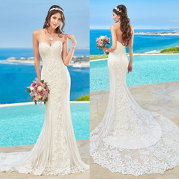 Wholesale Spring Chen - 2016 Kitty Chen Lace Wedding Dresses Beads Mermaid Backless Wedding Gowns Sweep Train Sleeveless Crystal Beach Bridal Dress