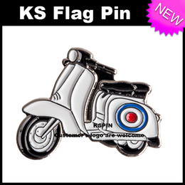 Wholesale Pin Buttons Wholesale - White Vespa Metal Badge Pin 10pcs a lot Free shipping