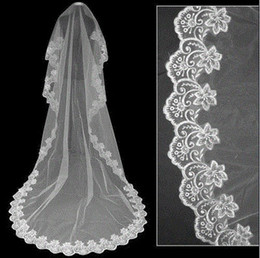 Wholesale Low Price Wedding Veils - Low Price 2017 Cheap Tulle Wedding Bridal Veil 3 Meters one tier Layer Lace Appliques Under 10$