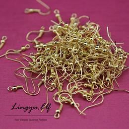 Wholesale Hook Earring Backing - 1000pcs lot 18K Gold Earring Earwires & Clips - Findings 2mm flat back post earring findings Earring Hooks  DIY Jewelry Findings