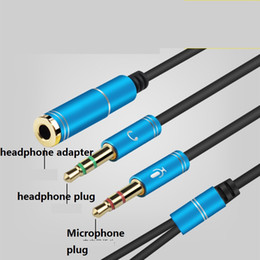Wholesale Headphones Red Cable - Metal adapter AUX 3.5mm Computer Microphone headphone adapter 1 Male To 2 Female Microphone plug+headphone plug Extend AUX Audio Cable 20p