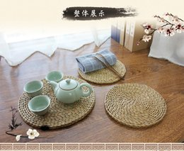 Wholesale Wholesale Wound Cares - Teapot coaster pad rattan straw circular tableware heat insulation pad plate bowl. China 's wind - tea care large anti - hot pot pad