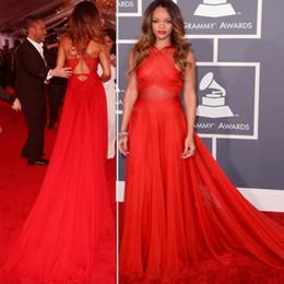 Evento tappeto rosso online-Abito da sera di Rihanna Red Carpet di alta qualità Una linea lunga abito da cerimonia celebrità abito da ballo party promozionale