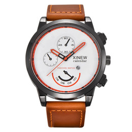 Wholesale Vintage Army Watch - XINEW Classic Mens Outdoor Watches Vintage Quartz Watch Men Leather Strap Analog Wrist Watches Men's Army Clock Relogio Reloj #Z