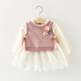 Wholesale Autumn Outfits Wool - Baby girls outfits toddler kid cotton lace hollow out dress+knitting wool bows ribbon stereo flower waistcoat 2pcs sets infant clothes C0378