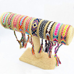 Wholesale Friendship Bracelet Designs - 10 Design Mixed Fantastic Rope String Handmade Geometric Friendship Bracelet Summer Fashion Gold Plated Alloy Chain Cotton Woven Bracelet