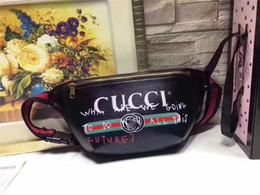 Wholesale Waist Shoulder Belts - 2017 Newest Gu cci GG Logo Black Genuine leather Pattern Navy Canvas Leather Waist Belt Bag fanny pack waist belt bag (28CM*18CM*8CM)