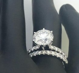 Wholesale Diamond Accent Rings - DIAMOND RING MATCHING BAND SET 4 CT ACCENTS LADIES ROUND SHAPE 18 KT WHITE GOLD