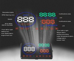 Wholesale Car Alarm System Wholesale - Head Up Display OBD2 Techstick 5.5 inch M9 Car HUD Heads Up Display with Reflective Board Display KM h MPH Speeding Warning Fuel Consumptio