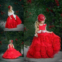 Wholesale Handmade Tulle Tutu - Cute Red Ball Gown Flower Girl Dresses for Wedding Jewel Cap Sleeve Handmade Flowers Sash Ruffles Tutu Long Girls Pageant Dresses Custom