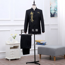 Wholesale Dragon Tunic - Brand New 2016 Black White Long Sleeves Men's Suit Costumes Gold Dragon Embroidery Chinese Tunic Suit Stage Performance Costumes