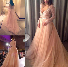 Wholesale Beautiful Red Nude Sleeves - Sexy Nude New prom Dress 2017 Beautiful Tulle Long Sleeve Party Gowns Lace Charming Evening Pageant Party Gowns Custom
