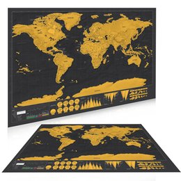 Wholesale Scratching Map - Scratch Off World Map Personalized Vintage Travel World Map Poster Sticker Vacation National geographic Retro maps 82x59cm 170927