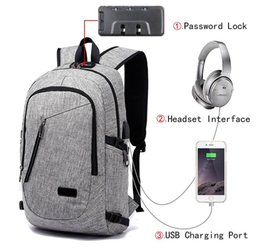 Wholesale Headphone Style Man - Anti Theft Business Laptop Backpack with USB Charging Headphones Port For Men Women Fits Under 16-Inch Laptop