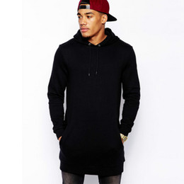 Wholesale mens casual hoodies - Black mens longline hoodies men fleece solid sweatshirts fashion tall hoodie hip hop side zipper streetwear extra long hiphop