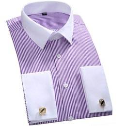 Wholesale Camisa Slim Fit - Wholesale- Men French Cufflinks Shirt Classic Business Striped Shirt French Cuff Dress Shirts Long Sleeve Slim Fit Shirt Camisa Masculina