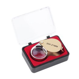 Wholesale Magnifying Glass Gold - 2017 Portable 30X Power 21mm Jewelers Magnifier Gold Eye Loupe Jewelry Store Lowest Price Magnifying Glass with Exquisite Box
