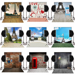 Wholesale Digital Wedding Cameras - 5x7ft bricks wall eiffel tower campus scenic photography backdrops for wedding photo camera fotografica studio background vinyl digital prop