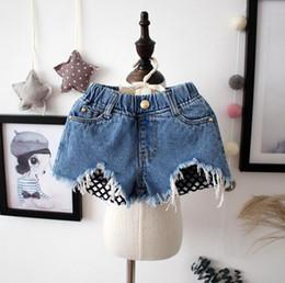 Wholesale Short Denim Broken - Girls Jeans Shorts 2017 Summer Baby Kids Denim Shorts Mesh Broken Design Girl Children Jeans Short Pants 13174