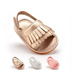 Wholesale Wholesale Soft Slide - Tassel Baby Shoes 13cm 12cm 11cm Leather No Slides Breathable Kids Boy Girl Toddler Shoes Child DHL Fast Shipping