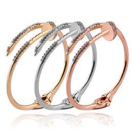 Wholesale 14k Rose Gold Filled Bracelet - Steampunk Jewelry Silver Gold  Rose Gold Bangle Bracelet Rhinestone Nail Gold Silver Bracelet Open Cuff Bracelet & Bangles for Women