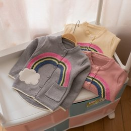 Wholesale Cardigan Cotton Rainbow - 2017 kids clothes Autumn and winter children sweater girls rainbow clouds cardigan children 1-2-3-4 years old