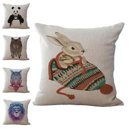 Wholesale panda cushion pillow - Panda Owl Lion Wolf Rabbit Animal pattern Pillow Case Cushion cover Linen Cotton Throw Pillowcases sofa Bed Pillow covers Drop shipping PW43