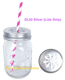 Wholesale Candle Birthday Party Favors - Wholesale- 5pcs (Lids Only) Rustic Silver Pewter Daisy Cut Mason Jar Lids For Straws or Candle lights Wedding Birthday Party Favors