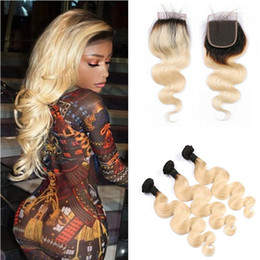 Wholesale Brazilian 613 Closure - 9A Two Tone 1B 613 Blonde Dark Roots Ombre Brazilian Body Wave Virgin Human Hair Bundles With 4x4 Lace Top Closure 4Pcs Lot