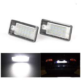 Wholesale Number Plate Lights - 2pcs lot LED Number License Plate Lights 18LED 12V For Audi A4 b6 8E A3 S3 A6 c6 Q7 A4 b7 A8 S8 S6 RS4 RS6