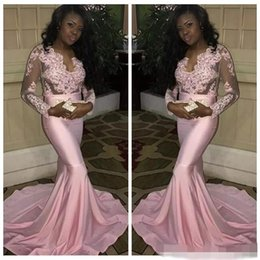 Wholesale Mermaid Dres - 2017 New Design Pink Mermaid Lace Appliques Prom Dres Sheer illusion Bodice African Prom Party Gowns Vestidos De Soiree Custom