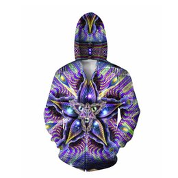 Wholesale Hoodies Men Double Sided - Wholesale-Cerebral Mokasha Double Sided Hoodie psychedelic colorful geometric shapes 3d Print Zipper Sweatshirts Jumper For Women Men
