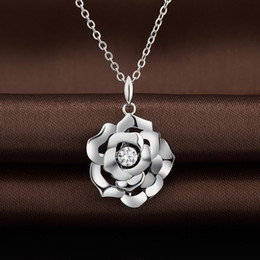 Wholesale Wholesale Jewelries - 10pcs lot New Arrival Valentine's Day Gift Romantic Rose 925 Sterling Silver Pendant Jewelries With Twinkle Diamond Dancing Stone