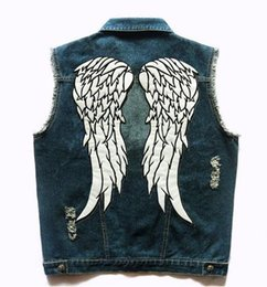 Wholesale Rider Style Jacket - The Walking Dead Daryl Dixon Angle Wings Vest Men's Motorcycle Biker Denim Jeans Vest Hole Patches Sleeveless Motor Rider Jacket