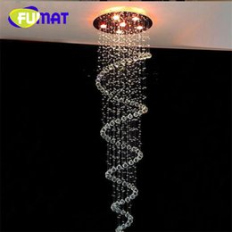 Wholesale Stair Crystal Lamp - FUMAT Modern led Spiral Lustre Crystal Ceiling Light Fixtures Long Stair Light for Staircase Hotel Foyer Living Room Lamp