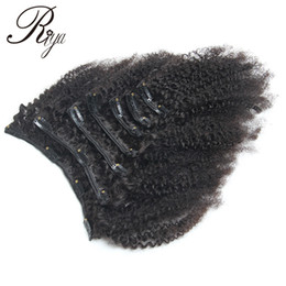 Wholesale European Clip Curly Hair - Mongolian Afro Curly Clips In Human Hair Extensions 7 PCS Set In 4B 4C Pattern Natural Black 1B Color Human Hair Weave Bundles Free Shippin
