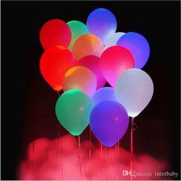 Wholesale Helium Light Balloons - LED Balloon Light Ball Glowing Balloon Latex Helium Balloons Christmas Halloween Decoration Wedding Birthday Party Supplies 12inch B2844