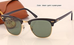 Wholesale Crystal Case Glass - New arriveing high quality women sunglasses men glasses UV400 protection black with metal frame green crystal lens 49mm 51mm case box