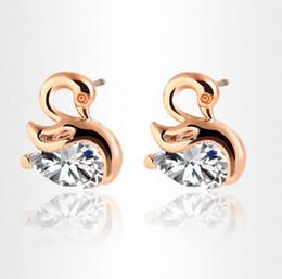 Wholesale Alloy Swans Silver - Trendy crystal zircon swan stud earrings personalized temperament metal earrings high - end jewelry wholesale free shipping