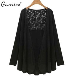 Wholesale Womens Sleeved Cardigans - Wholesale-Gamiss Hot New Fashion 2016 Autumn Winter Womens Tops Casual Knitted V-Neck Sweaters Long Sleeved Lace Stitching Cardigans 5XL