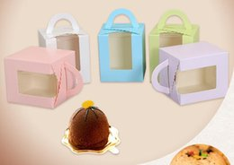 Wholesale Paper Food - New Open Window Cake Box Cupcake Container Valentine Chocolate Packing Wedding Baking Package Packing Paper Cake Boxes 9.5*9.5*12cm