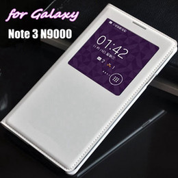 Wholesale Smart Pouch Leather - Smart Touch View Sleep Wake Up Function With Original Chip Leather Case Flip Cover For Samsung Galaxy Note 3 Note3 N9000 N9005