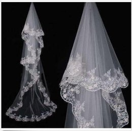 Wholesale Cathedral Veil Without Comb - 2017 New White 3M Cathedral Wedding Bridal Veil Lace Edge Wedding veil without comb free shipping AOP--049